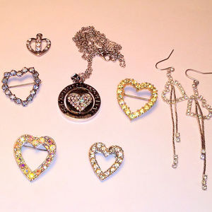 Jewelry - VTG Rhinestone Heart Jewelry Bundle Pins Earrings